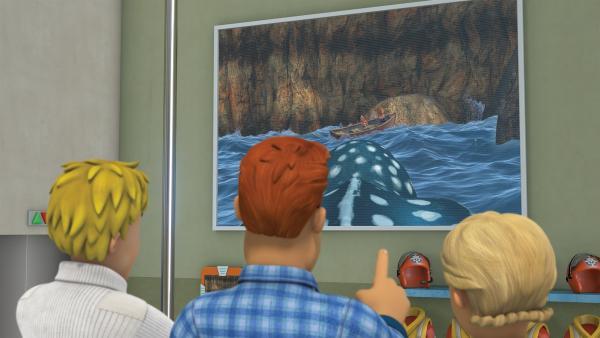 Sam erkennt Norman und Mandy über die Schildkrötenkamera. | Rechte: KiKA/2014 Prism Art & Design Limited