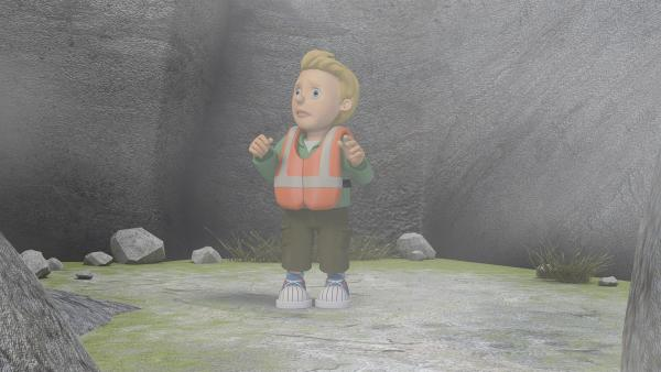 James hat sich auf Pontypandy Eiland im Nebel verirrt.   Rechte: KiKA/2014 Prism Art & Design Limited