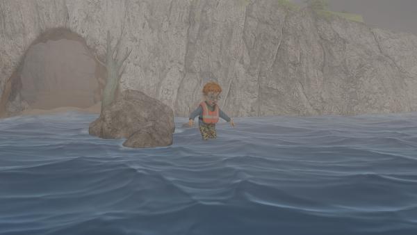 Norman traut sich nicht in die Höhle zurück. Aber das Wasser steigt immer höher.   Rechte: KiKA/2014 Prism Art & Design Limited