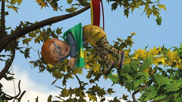 Norman Man hat sich im Baum verheddert.   Rechte: KiKA/2014 Prism Art & Design Limited