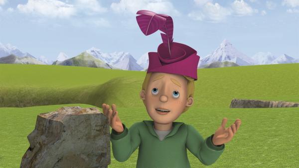 James ist sich nicht sicher, ob der Hut passend für einen König ist.    Rechte: KiKA/Prism Art & Design Limited