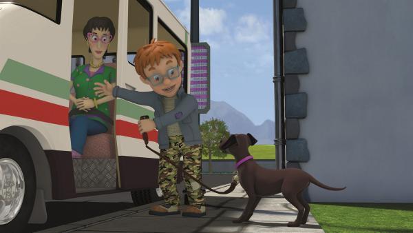 Norman nimmt Lady Samtpfote mit zu einem Ausflug. | Rechte: KiKA/Prism Art & Design Limited