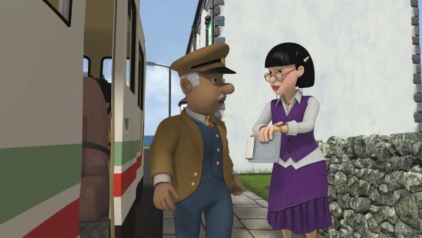 Frau Chen bittet Trevor sich zu beeilen. Sie hat einen engen Zeitplan. | Rechte: KiKA/Prism Art & Design Limited