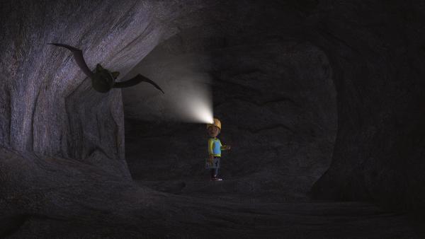 Endlich entdeckt Mandy eine Fledermaus.    Rechte: KiKA/Prism Art & Design Limited