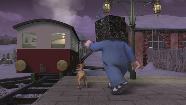 Wegen eines Missgeschicks fährt der Zug ohne Lokführer Gareth davon.  | Rechte: KiKA/Prism Art & Design Limited