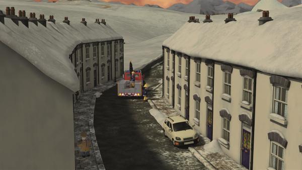 Es ist spiegelglatt in Pontypandy. Die Feuerwehr muss Streusand verteilen.  | Rechte: KiKA/Prism Art & Design Limited