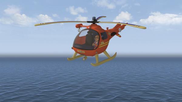 Tom Thomas fliegt in Wallaby 1 über den Strand von Pontypandy. | Rechte: KiKA/Prism Art & Design Limited