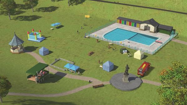 Für das Pontypandy-Parkfest ist auf der Festwiese alles vorbereitet. | Rechte: KiKA/Prism Art & Design Limited