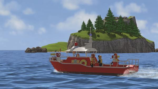 Feuerwehrmann Sam und sein Team suchen nach Joe Sparkes.   Rechte: KiKA/Prism Art & Design Limited