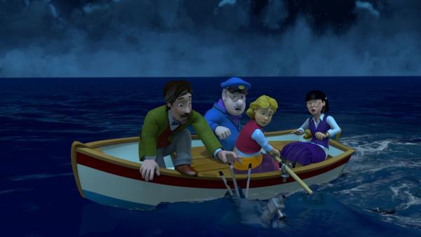 Professor Pickles, Gareth, Gwendolyn und Frau Chen sind mit einem Boot aufs Meer gefahren. Sie hoffen, dass dort weniger Wolken die Sicht auf den Mond versperren. Doch ohne Teleskop wird es schwierig, den Mond zu beobachten. | Rechte: KiKA/Prism Art & Design Limited