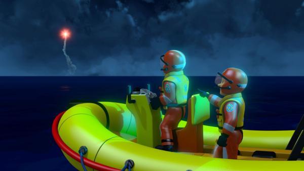 Die starke Strömung erschwert Ben und Penny die Suche nach den Schiffbrüchigen.   Rechte: KiKA/Prism Art & Design Limited
