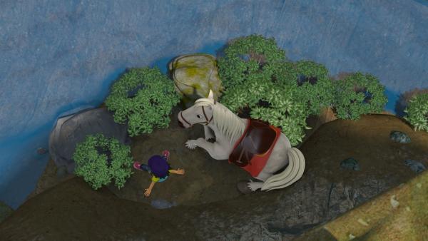 Mandys Pferd ist durchgegangen. Gemeinsam sind die beiden abgestürzt und brauchen Hilfe.   Rechte: KiKA/Prism Art & Design Limited
