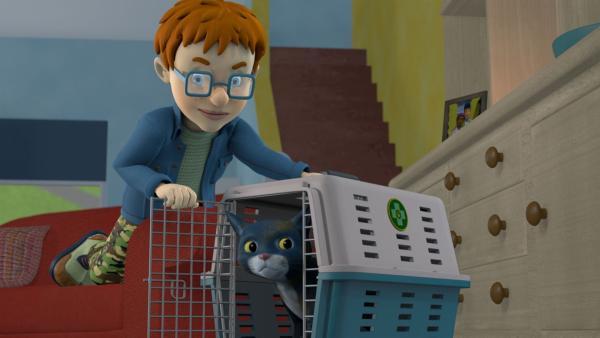 Norman stört das Miauen der Katze beim Filmschauen. Er hofft, dass sie still ist, wenn er sie aus ihrem Käfig befreit.   Rechte: KiKA/Prism Art & Design Limited