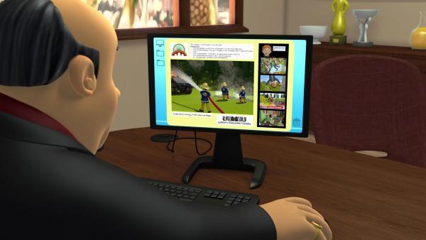 Hollywood-Regisseur Don Sledgehammer wird über das Video auf Feuerwehrmann Sam aufmerksam. | Rechte: KiKA/Prism Art & Design Limited