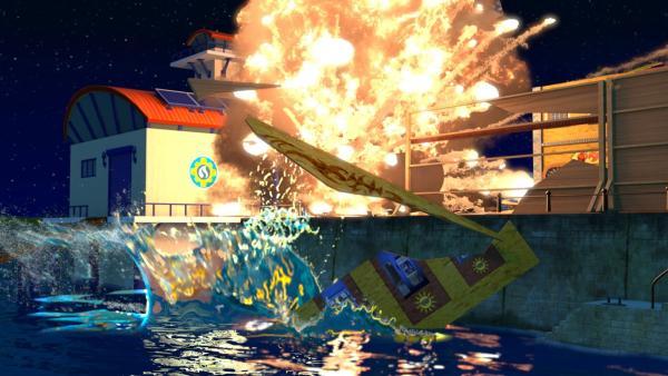 Bei den Dreharbeiten kommt es zu einer Explosion und einem großen Brand. | Rechte: KiKA/Prism Art & Design Limited