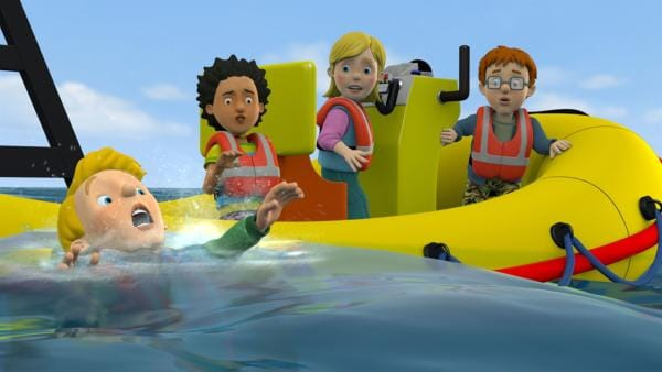 Sarah übernimmt das Steuer. Durch ihre rasante und kurvenreiche Fahrweise geht James über Bord. | Rechte: KiKA/Prism Art & Design Limited