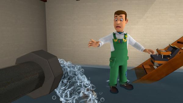 Mike Flood muss einen Wasserrohrbruch reparieren. | Rechte: KiKA/HIT Entertainment