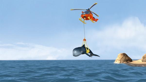 Feuerwehrmann Sam und seine Crew helfen dem Tier zurück ins Wasser.   Rechte: KiKA/HIT Entertainment