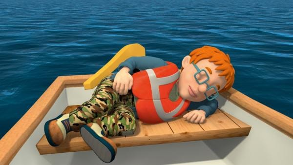 Das Ruderboot treibt aufs offene Meer hinaus, während Norman und James schlafen. | Rechte: KiKA/HIT Entertainment