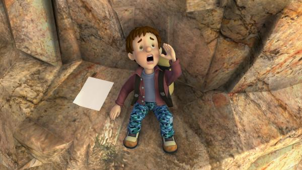 Derek ist an den Klippen abgestürzt und ruft um Hilfe. | Rechte: KiKA/HIT Entertainment