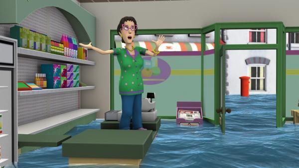 Dilys fragt sich, ob Norman etwas mit dem Hochwasser zu tun hat. | Rechte: KiKA/HIT Entertainment