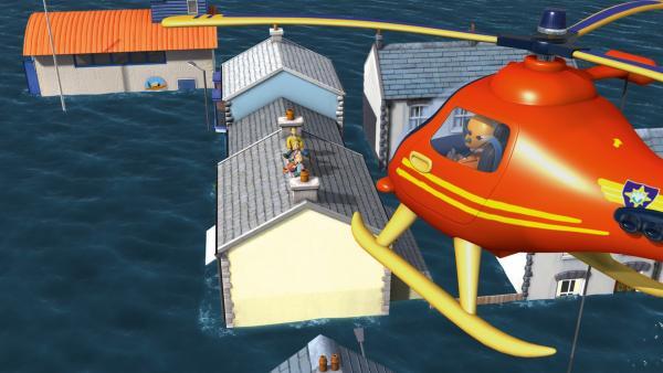 Familie Jones konnte sich auf dem Hausdach in Sicherheit bringen. | Rechte: KiKA/HIT Entertainment