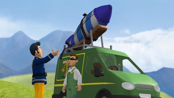 Mike Flood hat eine Rakete gebaut die er am Abend starten möchte. | Rechte: KiKA/HIT Entertainment