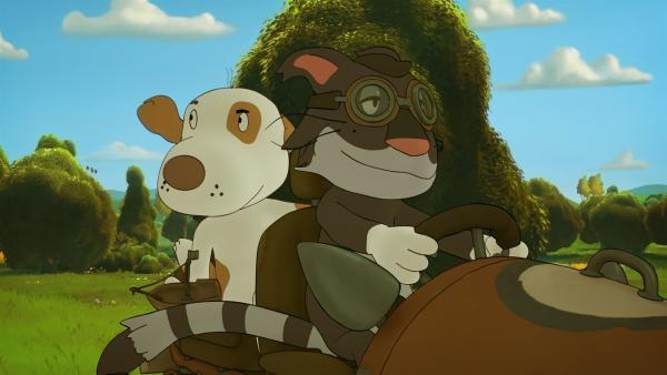 """Auch der findige Detektiv Gokatz und der sportliche Hund """"Kurt der knurrt"""" wollen den Schatz finden   Rechte: NDR/Janosch-Filme/Papa Löwe Filmproduktion/Virgin Lands Animated P."""