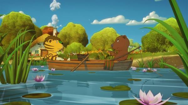 Tiger und Bär sind per Ruderboot unterwegs   Rechte: NDR/Janosch-Filme/Papa Löwe Filmproduktion/Virgin Lands Animated P.