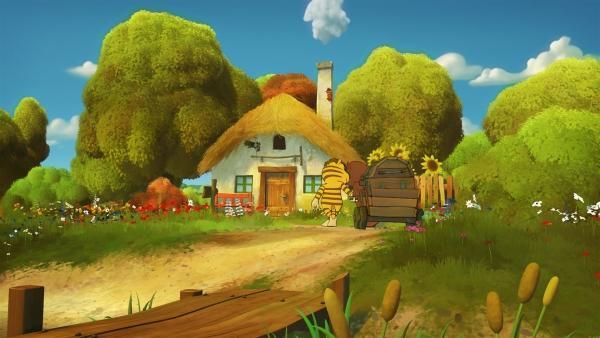 Tiger und Bär haben eine alte Kiste gefunden.   Rechte: NDR/Janosch-Filme/Papa Löwe Filmproduktion/Virgin Lands Animated P.