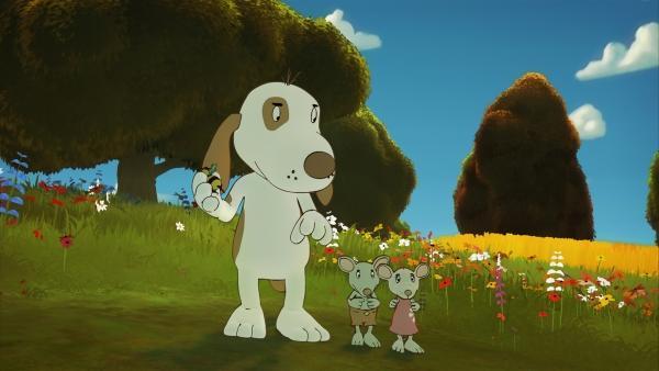 """Der sportliche Hund """"Kurt der knurrt"""" will den Schatz als erster finden.   Rechte: NDR/Janosch-Filme/Papa Löwe Filmproduktion/Virgin Lands Animated P."""