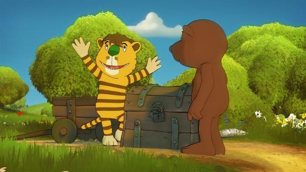 """""""Komm, wir finden einen Schatz"""" beschließen Tiger und Bär, als sie in einer alten Kiste eine Schatzkarte finden.   Rechte: NDR/Janosch-Filme/Papa Löwe Filmproduktion/Virgin Lands Animated P."""