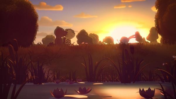 Die Jagd führt durch Tintensümpfe, Eiswüsten bis hin zu einem alten Piratenschiff, wo der Schatz versteckt sein soll.   Rechte: NDR/Janosch-Filme/Papa Löwe Filmproduktion/Virgin Lands Animated P.