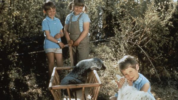 Stina (Kristina Jämtmark, re.), Pelle (Stephen Lindholm, li.) und Tjorven (Maria Johannson) machen einen kleinen Ausflug und erkunden dabei die Insel Saltkrokan. | Rechte: ZDF/Taurus-Film