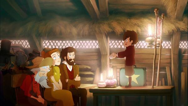 Harry möchte ein großer Magier werden und zeigt seinen Eltern alle Tricks, die er eingeübt hat. | Rechte: WDR/DANDELOOO