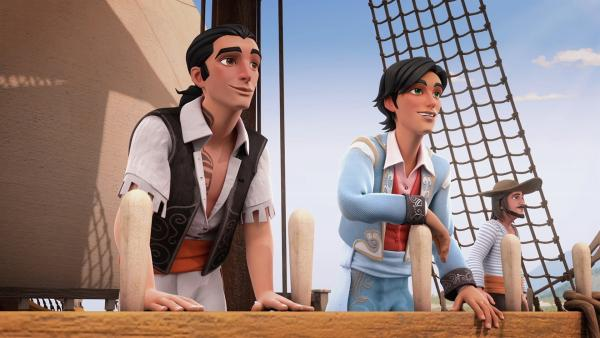 Bernardo und Diego kehren aus Spanien zurück. | Rechte: KiKA/Cyber Group Studios – Zorro Productions Inc.