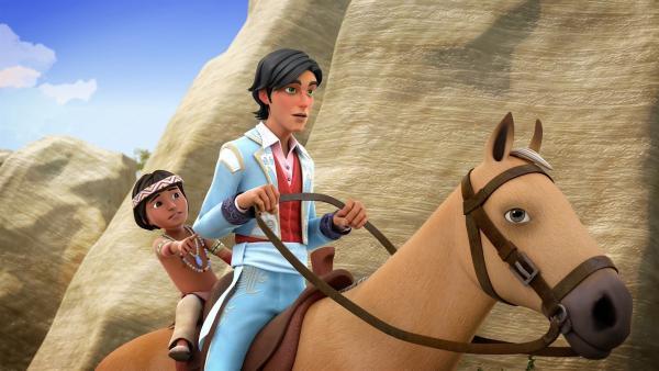 Diego reitet mit Tishi, einem kleinen Jungen vom Stamm der Chumash, in die Berge. | Rechte: KiKA/Cyber Group Studios – Zorro Productions Inc.
