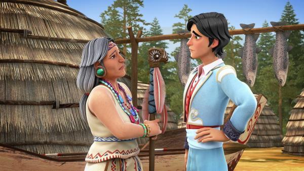 Diego spricht mit seiner indianischen Großmutter Taïnah. | Rechte: KiKA/Cyber Group Studios – Zorro Productions Inc.