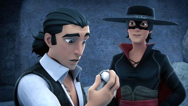 Zorro kann sich aus dem Bergwerk retten und überrascht Bernardo mit einem Klumpen Silber. | Rechte: KiKA/Cyber Group Studios – Zorro Productions Inc.