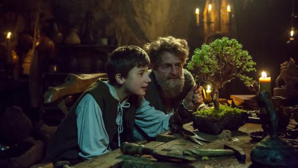Theo (Florian Burgkart, links) bestaunt den Bonsai von König Laurin (Volker Zack). | Rechte: BR/Ivan Poletti