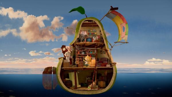 In einer Riesenbirne machen sich Sebastian, Mitcho und Professor Glykose auf die Suche nach dem verschwundenen Bürgermeister von Sonnenstadt. | Rechte: © KiKA/Nordisk Film Production