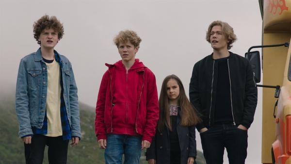 Los Bando hat ihr Ziel fast erreicht (v.l.n.r.: Jakob Dyrud, Tage Hogness, Tiril Marie Høistad Berger, Jonas Hoff Oftebro). | Rechte: NDR/Bjorn Bratberg