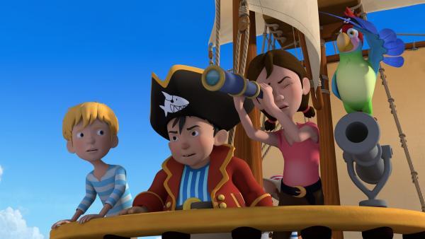 Auf der Suche nach großen Abenteuern sticht Käpt'n Sharky mit seinen Freunden Bonnie und Michi in See.   Rechte: ZDF/Caligari Film