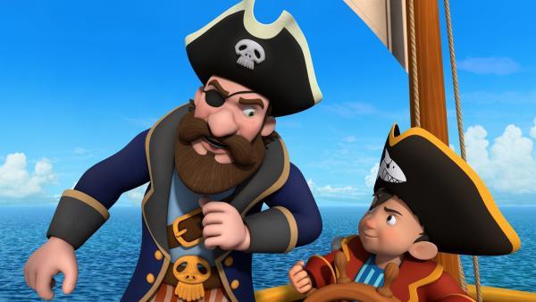Vor dem berüchtigten Piraten dem alten Bill muss sich Käpt'n Sharky schwer in acht nehmen. Denn der führt  selten Gutes im Schilde.   Rechte: ZDF/Caligari Film
