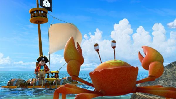 Ohne die Hilfe der Krabben, die ihm geholfen haben ein Floß zu bauen, wäre Käpt'n Sharky  auf dem einsamen Eiland verloren gewesen.   Rechte: ZDF/Caligari Film