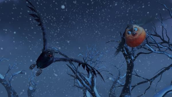 Mutig fliegt Fink durch den Schneesturm, um im Kamin von Frau Beese nach dem verlorenen Wunschzettel zu suchen. | Rechte: KiKA/Dream Logic & Lupusfilm/Trickshot Films