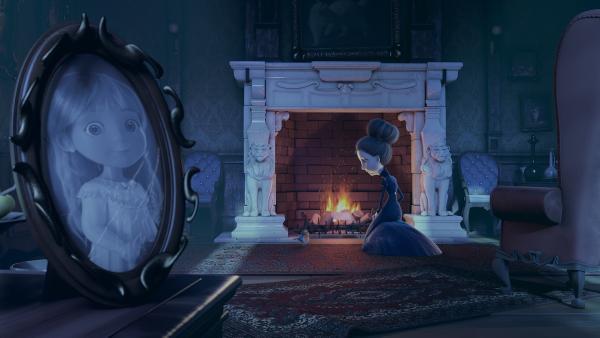 Nach vielen Jahren entfacht Frau Beese wieder ein Feuer im Kamin, um ihren und Henrys Wunschzettel zum Weihnachtsmann zu schicken. | Rechte: KiKA/Dream Logic & Lupusfilm/Trickshot Films