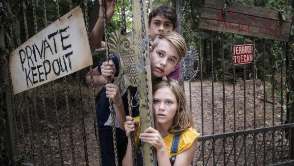 Heimlich dringen Karo (Luna Wijnands), Tonie (Tommy van Lent) und Oscar (Samuel Beau Reurekas) auf das Grundstück von Diony ein. | Rechte: MDR/Phanta Basta!
