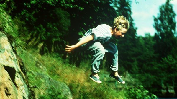 Jonas (Martin Andersson) fällt vor Schreck in den Waldsee. | Rechte: ZDF/Jan Rydqwist