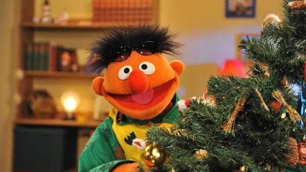 Ernie erwartet voller Vorfreude den Weihnachtsmann. | Rechte: NDR/Boris Laewen